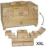 """hochwertiger - XXL Nähkorb - """" helles Holz - Vintage """" - groß eckig mit 1 Schublade + 8 Fächer - Nähkasten - Nähkästchen leer Holznähkorb Holz / Tragegriff - mit Einsatz - Schmuckkästchen - Nähmöbel - Handarbeitskorb - Utensilo - für Kinder & Erwachsene - Schmuck / Nähzubehör - Kasten / Box Utensilien - Holznähkorb - Retro - Nähschrank tragbar"""