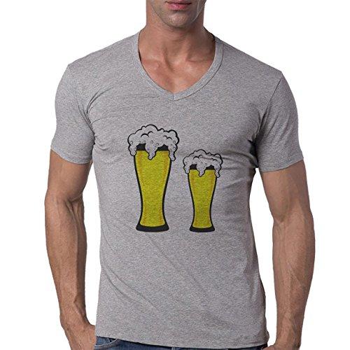 Beer Drink Oktoberfest Glass Big Small Herren V-Neck T-Shirt Grau