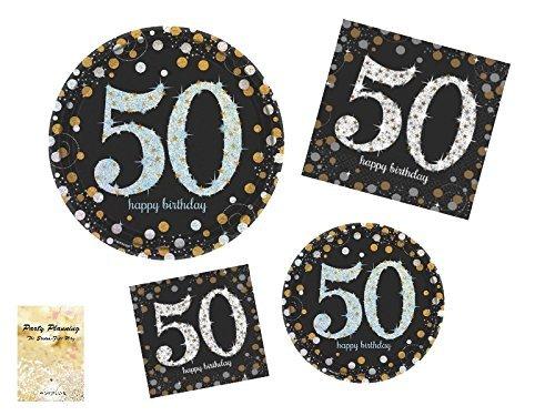 50. Geburtstag Party Supplies, Sparkling Celebration Design, Bundle Von 4Artikel: Essteller, Dessertteller, Lunch-Servietten und Getränke Servietten