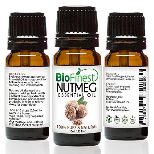 biofinest aceite de nuez moscada–100% puro aceite esencial de nuez moscada–aliviar el dolor muscular, Hinchazón, Inflamación–PREMIUM CALIDAD–grado Terapéutico–mejor para aromaterapia–libre E-BOOK