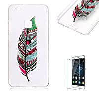 For Huawei P10 Lite Case [with Free Screen Protector],Funyye Fashion lovely Lightweight Ultra Slim Anti Scratch Transparent Soft Gel Silicone TPU Bumper Protective Case Cover Shell for Huawei P10 Lite - Blue Dreamcatcher