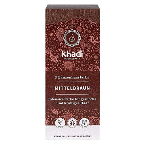 Khadi, colore vegetale per capelli, colore marrone caldo e medio, 100 g, naturale al 100% vegetale