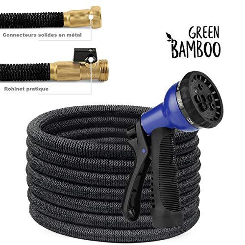 Green Bamboo® - Nouveau Modèle Renforcé 2019 - Tuyau d'Arrosage Extensible & Retractable / 15m (50ft) + Connecteurs en Laiton à VIS + Pistolet 8 Fonctions - Tuyau Arrosage yoyo