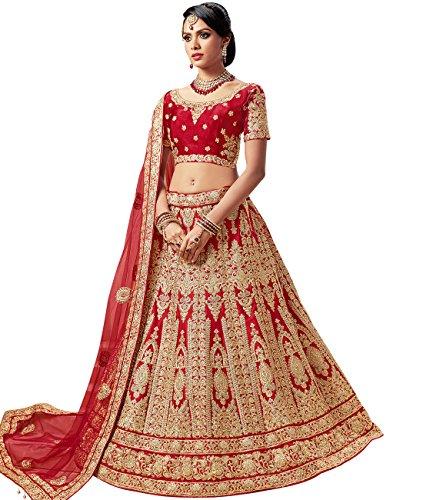 Indian Ethnicwear Bollywood Pakistani Wedding Red A-Line Coloured Lehenga Semi-stitched-PRF5429