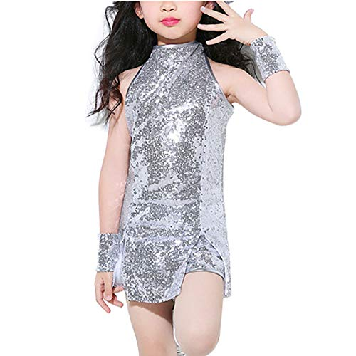 Tenthree Mädchen Pailletten Hip Hop Jazz Performance Kostüme - School Street Dance Clothing Set Cosplay Modern Tanzkleid Outfits Armellos Kinder Cheer Leader Team ()