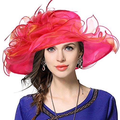 Damen-ascot (Damen Kirche Derby Kleid Fascinator Braut Mütze Britischer Tee Party Hochzeit Sonnenhüte (Wassermelonenrot))