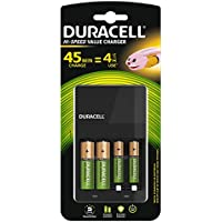Duracell Value Charger  AA Charger CEF14 EV with 2 x AA & 2 x AAA Rechargeable Batteries