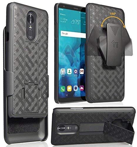 LG Stylo 4Fall mit Clip, nakedcellphone Schwarz Ständer Cover + Gürtel Hip Holster für LG F Stylus | LG Stylo 4| LG Stylus 4 -