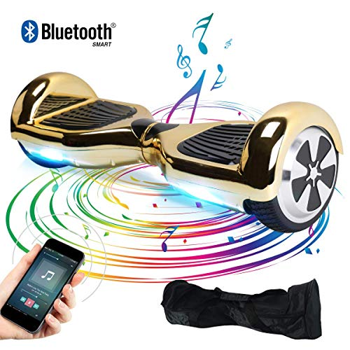 "BEBK Elektro Scooter, 6.5"" Hoverboard, Self Balance Scooter mit Bluetooth Lautsprecher, 2 * 250W Motor, LED Lights (Gold)"