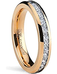 Ultimate Metals Co. ® 4MM Rose Gold Plated Princess Cut Women's Eternity Titanium Ring Wedding Band with CZ