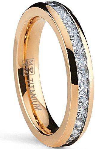 4MM Damen Rosé Vergoldet Prinzessin Schnitt Ewigkeit Titan Ehering Mit Zirkonia,Bequemlichkeit Passen,Größe 56 Damen Titan Ehering 4mm
