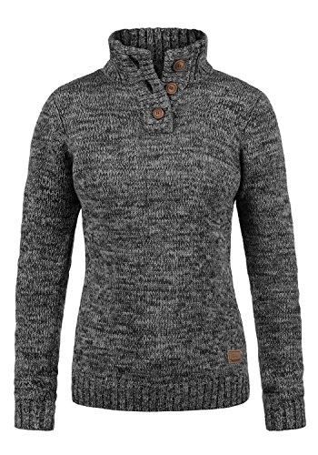 DESIRES Philicita Damen Strickpullover Troyer Grobstrick Pullover Mit Stehkragen Aus 100% Baumwolle