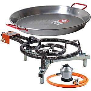 Paellero 40cm a Gas Garcima + Kit paellero Bricolemar (Soporte Universal sobremesa + Paellera 42cm + Regulador de Butano…