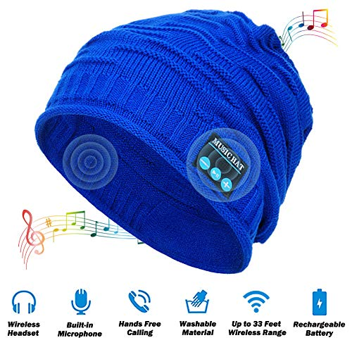MEETWEE Bluetooth Beanie Mütze,Wintermütze Musik Caps Winter Strickmütze mit Wireless Kopfhörer für Damen Herren Skifahren Wandern Laufen