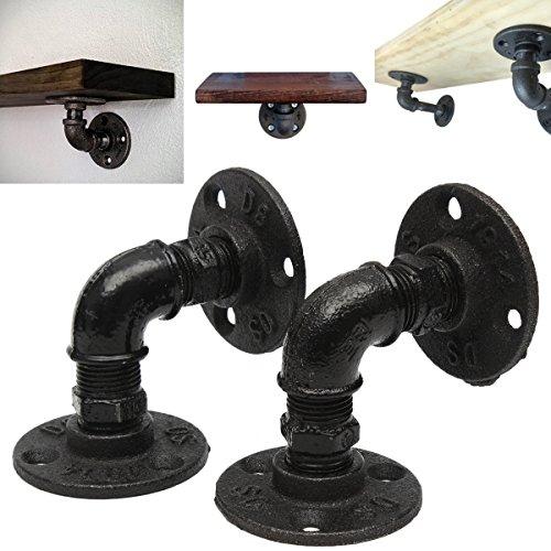 King do way 2 pz di supporto in metallo stile vintage per mensola, staffa in ferro stile vintage da parete muro, supporto di scheda/scaffale/mensola, nero 7x7cm nero
