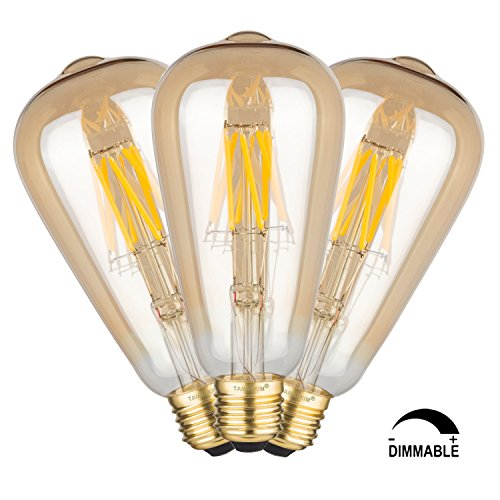 TAMAYKIM 8W Dimmable LED Filament Bulb E27 Base Lamp, ST64 Vintage Edison Style, 2700K(Warm White)-Gilded / 5000K(Bright White)-Frosted, 80W Incandescent Equivalent, 1/3 Pack
