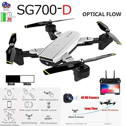 Drohne Live Übertragung 5G-WiFi- Positionierungsdrohne mit GPS FPV 1080P HD Cam Mini Quadcopter 4CH Weitwinkel-WiFi 4K HD Dual-Kamera optischer Fluss RC Quadcopter Drohne Hover (White)