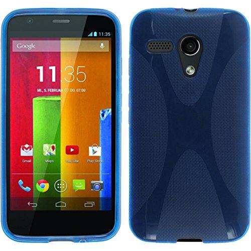 PhoneNatic Case kompatibel mit Motorola Moto G - blau Silikon Hülle X-Style + 2 Schutzfolien