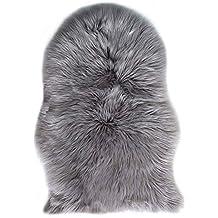 Falso Piel de carnero Vellón Alfombra 60 x 90 cm Shaggy Elegante De Pelo Largo Mullida Excelente piel Sintética de calidad Alfombra de Lana (Gris)
