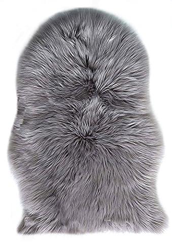 Laine Tapis 60 x 90 cm Faux Peau de Mouton Imitation Toison Moquette Peau d'agneau Tapis Fluffy Soft Longhair Décoratif Coussin de Chaise Canapé Natte (Gris)