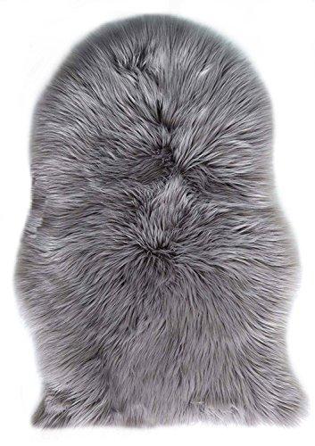Fell Lammfell Schaffell/sheepskin rug, Lammfellimitat Flauschigen Teppiche Imitat Kunstfell Dekofell,Langes Haar Nachahmung Wolle Bettvorleger Sofa Matte 60X90 cm (Grau)
