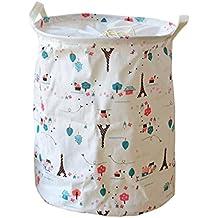 QHGstore Cesto plegable de lavandería Bolsa almacenaje de la ropa del barril cestas de algodón de lino de gran capacidad 0683 Torre