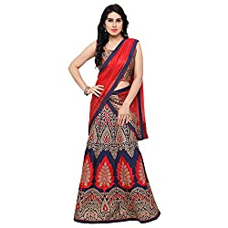 Styles closet Semi Stitched Taffeta Silk Lehenga Choli For Woman (7050_Red)