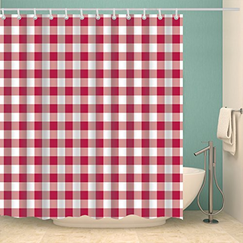 Haken Dusche Rot (Eureya rot und weiß plaid Polyester-Duschvorhang mit Schimmelresistent Wasserdicht-12Haken Maschinenwaschbar 182,9x 182,9cm Finder Geschenk)