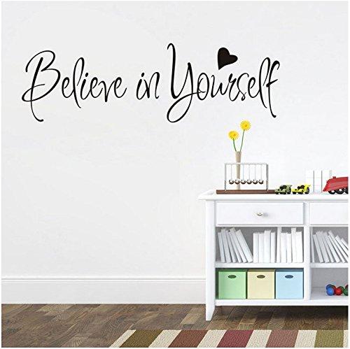 Adesivi Murali Frasi Scritte'believe in yourself' Adesivi da Parete Amovibile Decorazione per Muri 57 * 20cm