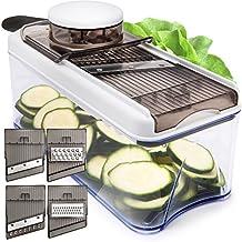 Verstellbarer Mandoline Gemüseschneider und Multischneider - Gemüsehobel, Gemüseschäler, Gemüsereibe und Julienneschneider in 1nem Mit Behälter, Schutzhandschuh und 5 Stahl Klingen - von HomeNative®