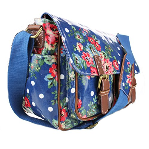 Miss Lulu, Borsa a spalla donna Medium (Medium Flower Navy)