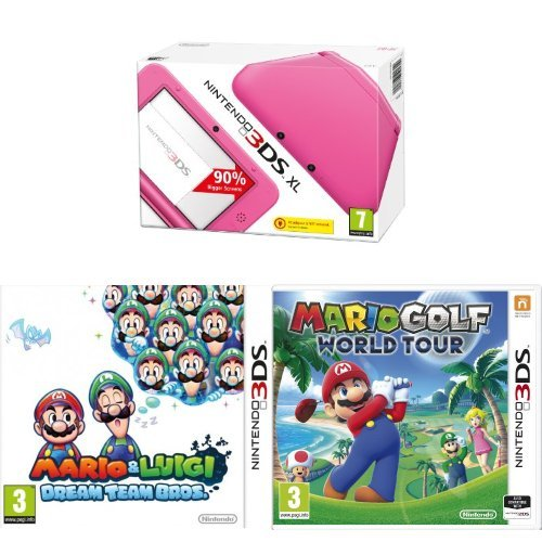 nintendo-3ds-xl-handheld-console-pink-with-mario-and-luigi-dream-team-bros-and-mario-golf-world-tour