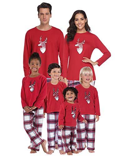 Abollria Pyjamas de Noël en Famille pour Papa Maman Bébé Enfanr Ensemble de Pyjama de Noël Vêtement de Nuit Noël