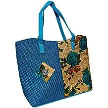 Women's Jute & Cotton Embroidered Handbag with Rich Attractive Flower Canvas Design