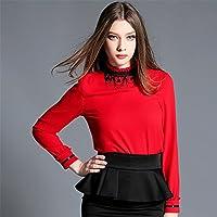 Las mujeres de moda, ocio, blusa, camisa, blusa, oreja, oreja, camisa de gasa y flaco,Rojo,S