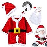 costume di natale del bambino, Kfnire vestito di unione del Babbo Natale del neonato unisex con il cappello (6-9 Mesi)
