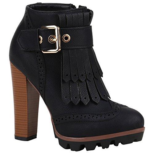 Damen Stiefeletten High Heel Blockabsatz Boots Fransen 151696 Schwarz Cabanas 38 | Flandell® (Kurz Cabana)