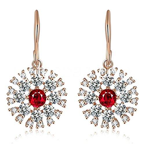 LOVE&CLOVER - Fiori Orecchini Pendenti da Donna con Cristallo Brillante, Argento Sterling Placcato Oro Rosa