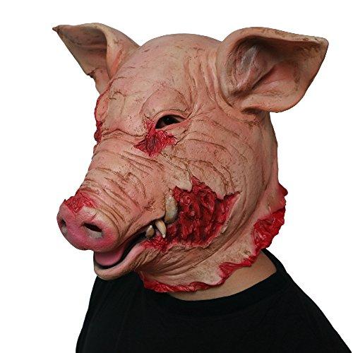 Morbuy Gruselig Halloween Maske, Neuheit Erwachsene Latex Horror Dämon Masken Perfekt für Fasching Karneval Kostüm Weihnachten Halloween Cosplay Kostüme Für Männer und Frauen (Verrücktes Schwein)