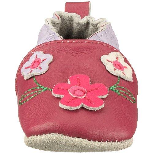 Playshoes Leder-Slipper Blume 101648, Mädchen Babyschuhe Pink (Original900)
