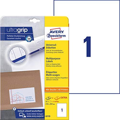 AVERY Zweckform Art. 6119 Etiketten selbstklebend (210x297 mm, 30 Klebeetiketten auf DIN A4 zum Bedrucken, mit ultragrip) 30 Blatt, weiß
