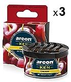 AREON Ken Auto Duft Cherry Lufterfrischer Kirsche Dose Autoduft Duftdose Wohnung Erfrischer 3D Set Pack x 3