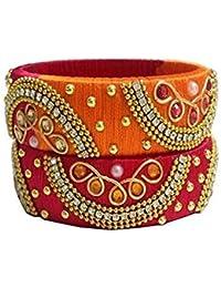 Beulah Fancy Silk Thread Bangle Set For Women (Size: 2.4, Beulah Fancy Silk Thread 1--2.4)