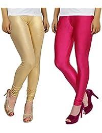 Leggings For Women Pink and Golden Combo Shining Lycra (Size XL) Shiny Leggings - Bhetvastu