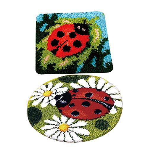 perfk 2X Marienkäfer Knüpfset Haken Kit, Knüpfteppich DIY Handwerk Knüpfpackung zum Selber Knüpfen Teppich für Kinder, Erwachsene