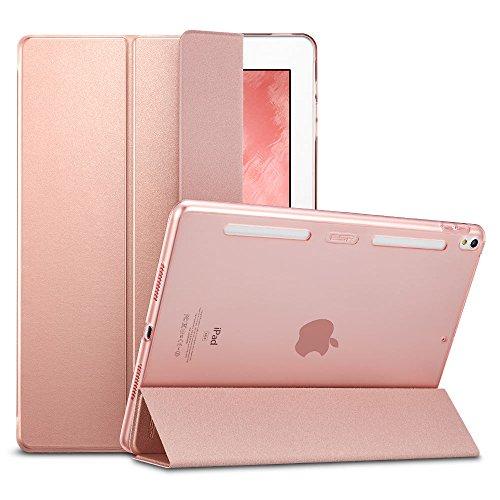 ESR iPad Pro 10.5 Hülle, Auto Schlaf/Aufwachenen Funktion PU Ledertasche mit Translucent Rücken Abdeckung (Silikon Rahmen + Hart PC Zurück) mit Kühlloch Schutzhülle für iPad Pro 10.5 (Roségold)