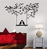 wall art decal sticker Parole parole di dire muro rimovibile murale Uccelli sull'altalena del bastone con i tipi di cuore Albero Rami Cuore Amore Romance Swing