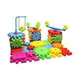 Interlocking Building Blocks and Gears 81 Pcs Construction Toy Set for Children Kids Boys Girls - Motorized Spinning Wheels - Build Variations with Funny Puzzle Bricks Gear Wheels