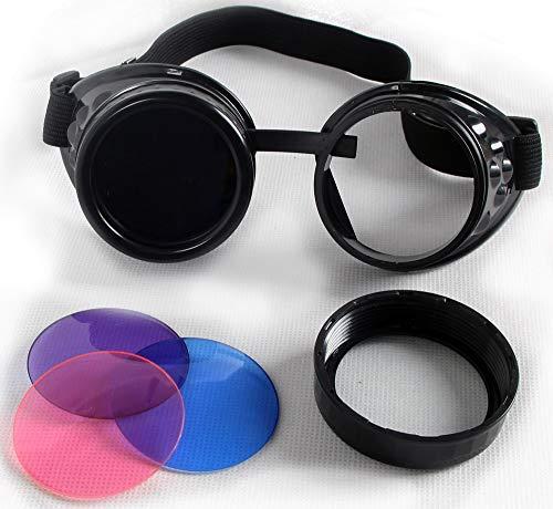 KOLCY Steampunk Brille Schutzbrille Rund Schwarz Silber Messing Rotkupfer Bronzefarbe Partybrille Schmuck Einstellbar Sonnenbrille Accessoire Retro Bunte Gläser