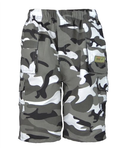 LotMart Kinder Uni & TARNUNG viele Taschen Shorts Jungen Armee Aufdruck Cargo Combat & Gratis Geschenk LotMart Stift pro Päckchen - Tarnung grau, 11-12 Years (Shorts Zoll 22)